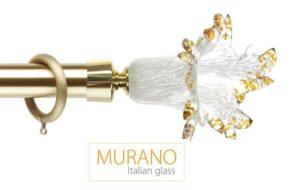 Где купить карниз для штор Мурано Классико латунь D30 наконечник Маргарита цвет матовое золото фото
