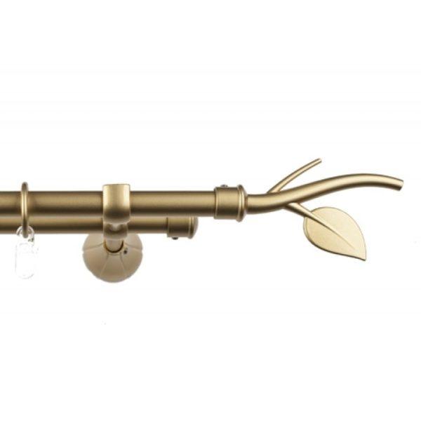 Металлический карниз для штор D16 Артик наконечник Ветка цвет золото матовое