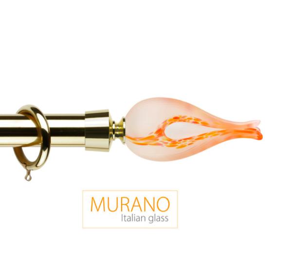 Латунный карниз для штор D30, D20 Мурано Классико наконечник Тюльпан цвет золото