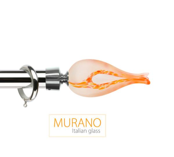 Латунный карниз для штор D30, D20 Мурано Классико наконечник Тюльпан цвет хром