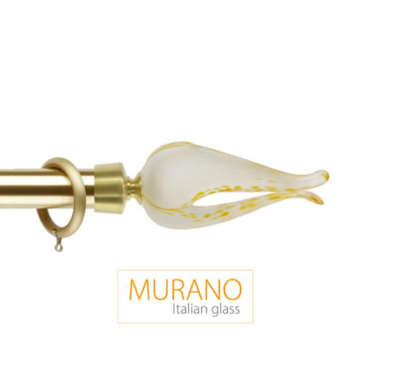Латунный карниз для штор D30, D20 Мурано Классико наконечник Тюльпан цвет золото матовое