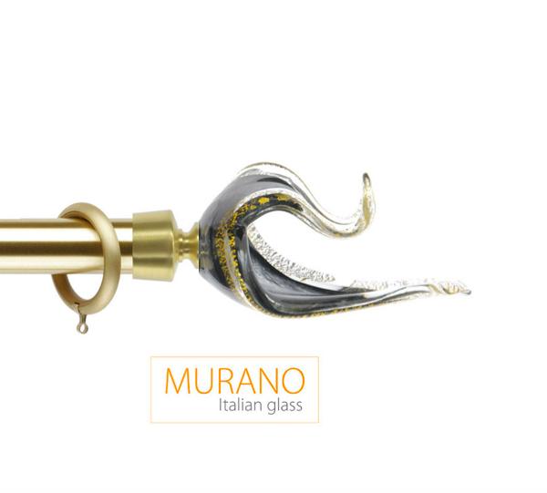 Латунный карниз для штор D30, D20 Мурано Классико наконечник Лебедь цвет золото матовое
