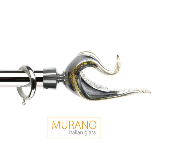 Латунный карниз для штор D30, D20 Мурано Классико наконечник Лебедь цвет хром