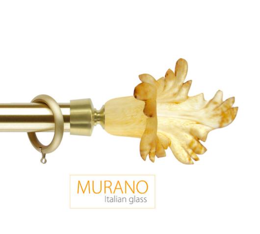 Латунный карниз для штор D30, D20 Мурано Классико наконечник Маргарита цвет золото матовое