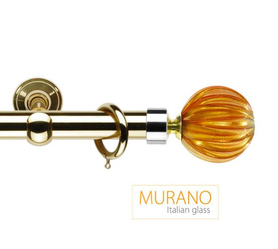 Латунный карниз для штор D30, D20 Мурано Модерн наконечник Шар рифленый цвет золото