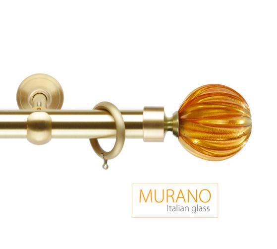 Латунный карниз для штор D30, D20 Мурано Модерн наконечник Шар рифленый цвет золото матовое