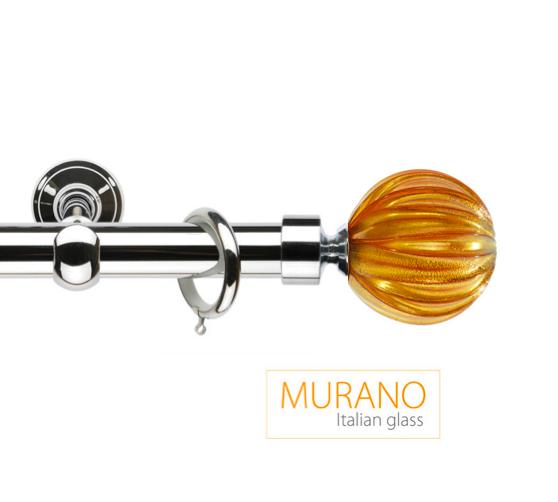 Латунный карниз для штор D30, D20 Мурано Модерн наконечник Шар рифленый цвет хром