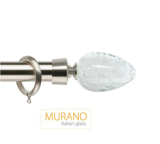Латунный карниз для штор D30, D20 Мурано Модерн наконечник Овал цвет хром матовой