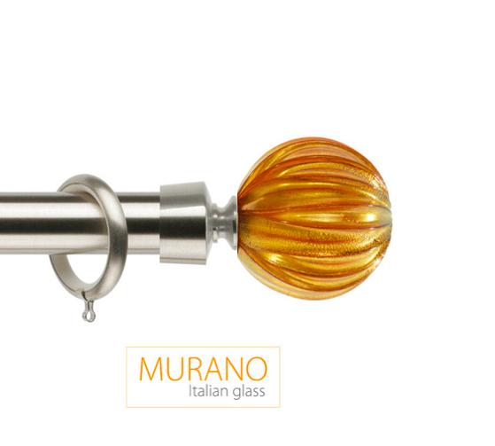 Латунный карниз для штор D30, D20 Мурано Модерн наконечник Шар рифленый цвет хром матовой