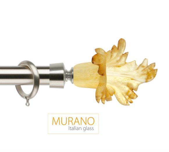 Латунный карниз для штор D30, D20 Мурано Классико наконечник Маргарита цвет хром матовой