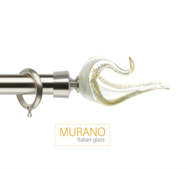 Латунный карниз для штор D30, D20 Мурано Классико наконечник Лебедь цвет хром матовый