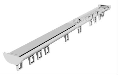 Профильный алюминиевый карниз для штор DSГолландия цвет белый, серебро