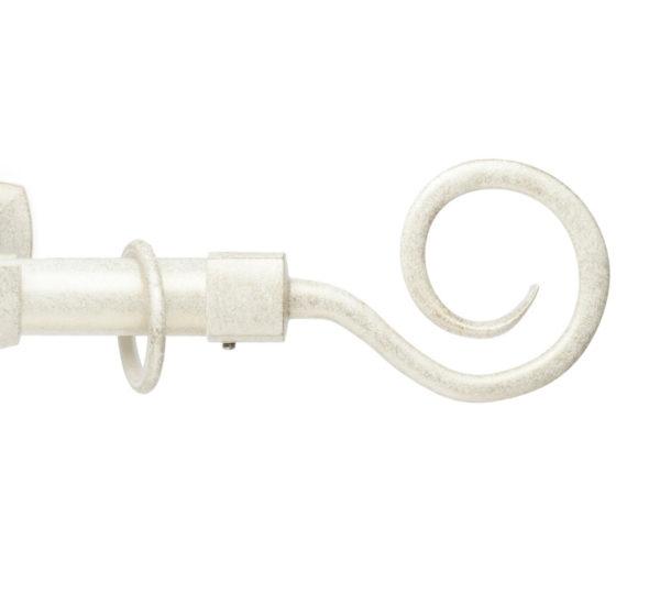 Металлический карниз для штор D25 Гефест наконечник Крюк цвет бело-золотой