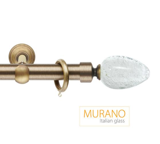 Латунный карниз для штор D30, D20 Мурано Модерн наконечник Овал цвет бронза
