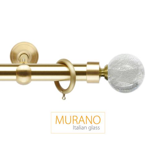 Латунный карниз для штор D30, D20 Мурано Модерн наконечник Шар цвет золото матовое