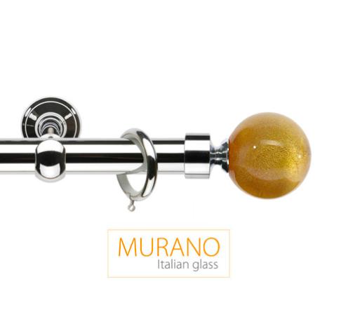 Латунный карниз для штор D30, D20 Мурано Модерн наконечник Шар цвет хром
