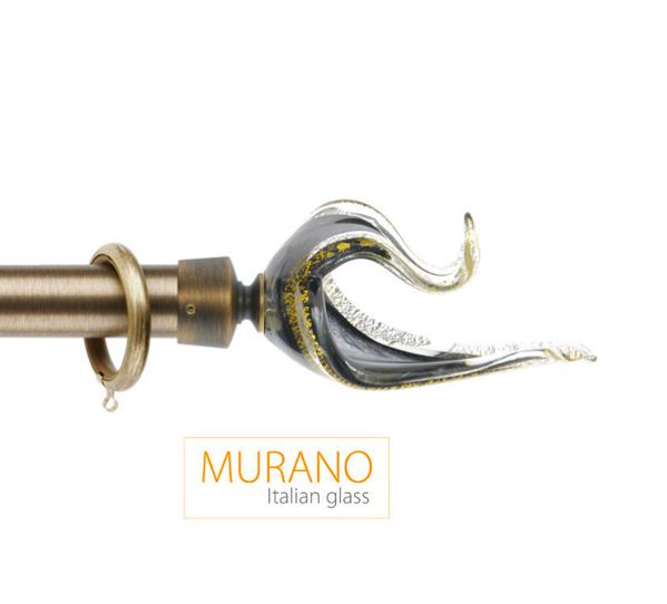 Латунный карниз для штор D30, D20 Мурано Классико наконечник Лебедь цвет бронза