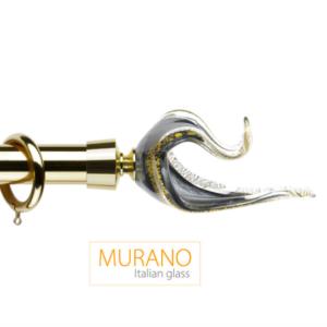 Латунный карниз для штор Мурано Классико наконечник Лебедь цвет золото матовое