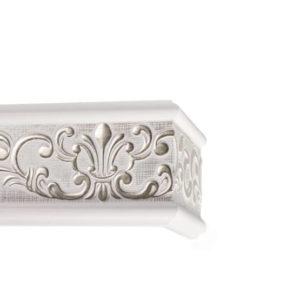 Багетный карниз для штор Прованс цвет бело-серебряный