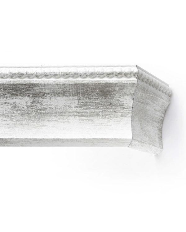 Багетный карниз для штор Лувр цвет бело-серебряный